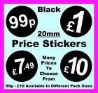 20mm Black Price Point Stickers / Sticky Labels / Swing Tag Labels 99p £1 £2 £5