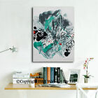 Abstract Stretched Canvas Prints Framed Wall Art Home Decor Painting Turquoise