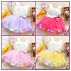 New Baby Girl 3D Rose Floral Wedding Christening  Party Lace Tutu dress 3M-18M