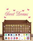 Sweet Dreams Wall Art Quote - Butterfly Sticker - Decals Vinyl Home Decor Girls