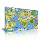 WORLD MAP 20 Funny Animal Cartoon Framed Print Canvas Wall Art ~ More Size ~