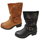 Womens New Faux Suede Leather Studded Buckle Ladies Mid Calf Boots Was £74.99