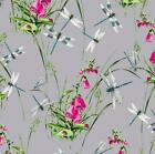 DRAGONFLIES & WILDFLOWER - GREY -RIVERBANK BY MAKOWER INPRINT 100% COTTON FABRIC