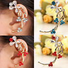1Pc Metal Rhinestone Crystal Flower Wrap Ear Cuff Clip Earrings Gift No Piercing