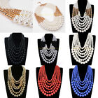 Fashion White Blue Red Pearl Beads Chain Chunky Layers Statement Bib Necklace