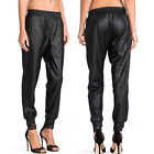 May&Maya Women's Black Faux Leather Stretch Cuffs Track Sweat Pants Trousers