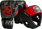 RDX Ultimate Leather Boxing Gloves Fight with MMA Head Guard Muay thai Grappling