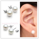 925 Sterling Silver Ear Studs Round Cultured Freshwater Pearl Earrings Gift Pair
