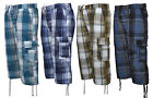 "S10 Mens ""Checked"" 3/4 Elasticated Waist Long Shorts Cargo Combat Zip Fly"