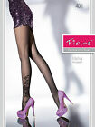 Fiore Elisha Patterned Tights 40 Denier Leg 1 pair Black Sheer to Waist T-Band