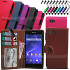 Flip Wallet Leather Case Cover Pouch For Sony Xperia E3 - D2202 D2203