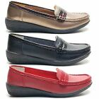 LADIES CASUAL LOW WEDGE HEEL SUMMER LOAFER SLIP ON MOCCASIN WOMENS SHOES SIZE