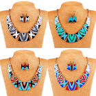 1Set Womens Tribal Totem Geometric Bib Statement Necklace Earring Set Thrifty