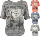 Womens Plus Paris Slogan Print Knitted Heart Stud Short Sleeve Ladies Top 14-22