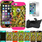 """Oak Tree Leaves Camo Impact Cover Case + Screen + Holster Clip for iPhone 6 4.7"""""""