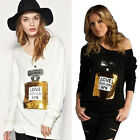 New Women Perfume Bottle Jumper Sequin Knitted Casual Loose Top Sweater Knitwear
