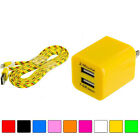 2 Port Fast Dual Wall Travel Charger+usb 6ft 6 Ft 2m Rope Cable Cord For Phones