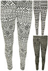 New Womens Black White Aztec Print Leggings Ladies Long Full Stretch Pants 8-14