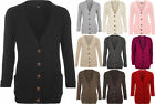 New Womens Cable Knitted Button Cardigan Long Sleeve Ladies Boyfriend Top 8- 14
