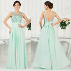 Long BEADED Bridesmaid Prom Evening Party Cocktail Ball Gowns Dresses 8 10 12 +