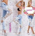 New Sexy Womens Slim Fit Skinny Jeans Size 6 - 14 Light Blue Capri Denim Pants