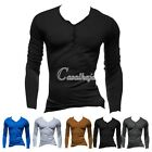 2015 Fashion Men's Slim Fit Cotton V-Neck Long Sleeve Casual T-Shirt Tops M-XXL