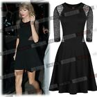 Women's Sexy Lace Sleeve Pleated Flared Skater Cocktail Evening Party Mini Dress