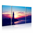 NATURE LIGHTHOUSE Seascape Canvas Framed Printed Wall Art 4 ~ 3 Panels