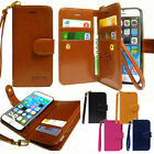 New Double Leather Wallet Diary Book Flip Cover Case For iPhone Samsung LG+Film