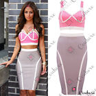Womens Two Piece Crop Top Bralet Pencil Skirt Bodycon Bandage Party Summer Dress