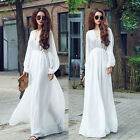 Women Lady Summer Beach BOHO Puff Sleeve V Neck Maxi Chiffon Full-length Dress