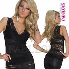 New Sexy Womens Lace Top Size 6 8 10 12 Shirts Blouses Party Clubbing Evening