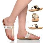 WOMENS LADIES FLAT LOW HEEL WEDGE T-BAR STRAPPY DIAMANTE SANDALS SHOES SIZE