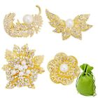 BMC 4pc Womens Clear Crystal Bezel Rhinestone Pearl Fashion Gold Brooch Pins Set