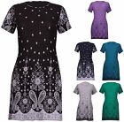 Womens New Plus Size Paisley Border Print Ladies Short Sleeve Tie Dress Long Top