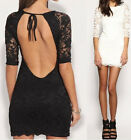 Fashion Womens Bodycon Lace Backless Evening Sexy Party Cocktail Mini Dress Club