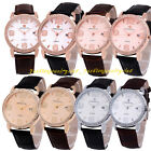 New Men Women Casual Leather Strap Band Date Analog Crystal Quartz Wrist Watch