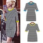Hot Women's Striped Half Sleeves Bodycon Dress Contrast Collar Pencil Mini Dress