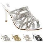 Womens Party Low Mid Heels Prom Bridesmaid Shoes Bride Stilettos Crystals UK 3-9