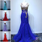 Women Sexy V Neck Beaded Mermaid Lace Evening Prom Party Dress