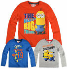 Boys Long Sleeve Minions T Shirt Kids Despicable Me Top New Age 3 4 6 8 Years