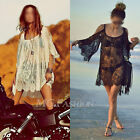 Boho Beach Sexy Strap Backless Lace Floral Crochet Mini Dress Loose Tops Kaftan