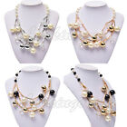 Hot Charm Crystal Pearl Choker Chunky Pendant Statement Bib Collar Necklace #N13