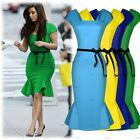 Womens Sexy Peplum Bodycon Belted Falbala Cocktail Evening Party Prom Dresses