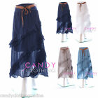 Ladies Cotton Skirt Long Maxi Gypsy Summer Beach Colour Size S M L XL 8 -18