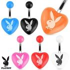 New Official Surgical Steel Acrylic Heart Belly Bar with Playboy Logo Belly Bar