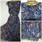 NEW PER UNA TEA DRESS NAVY PINK FLORAL PLEATED MIDI SKIRT CHIFFON PARTY  8 - 24