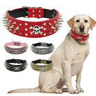 "2.0""Wide Cool Skull Spiked Studded PU Leather Dog Collars For Medium Large Dogs"