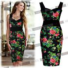 Womens Sexy Floral Hawaiian Tropical Print Vintage Summer Cocktail Party Dresses