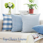 Home Decorative French Provincial Check/Plaid/Stripes Cushion Cover-Light Blue